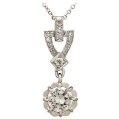 Antique 1930s French Diamond and Platinum Pendant