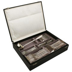 Antique 1930s German Silver Canteen of Cutlery for Six Persons