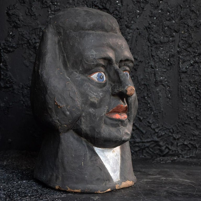 Mid-20th Century Antique 1930s Judge Theatre Papier Mâché Head from Paris For Sale
