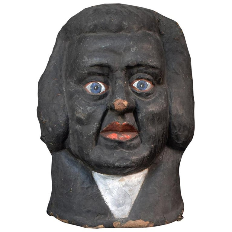 Antique 1930s Judge Theatre Papier Mâché Head from Paris For Sale