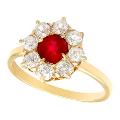 Antique 1930s Ruby and Diamond Yellow Gold Cluster Ring
