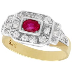 Antique 1930s Ruby and Diamond Yellow Gold Cocktail Ring