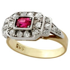 Antique 1930s Ruby Diamond Gold Cocktail Ring
