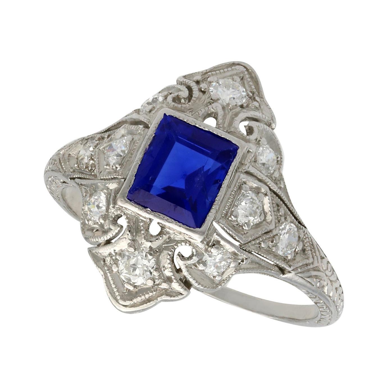 Antique 1930s Sapphire and Diamond Platinum Dress Ring