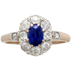 Antique 1930s Sapphire and Diamond Rose Gold Cluster Ring