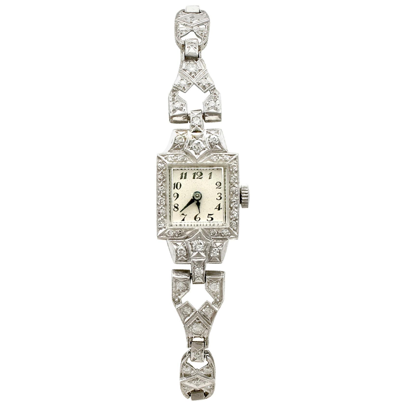 Antique 1935 1.93 Carat Diamond and Platinum Cocktail Watch