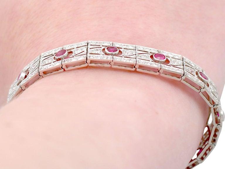 Antique 1935 French 2.45 Carat Ruby 6.85 Carat Diamond and Platinum Bracelet For Sale 6