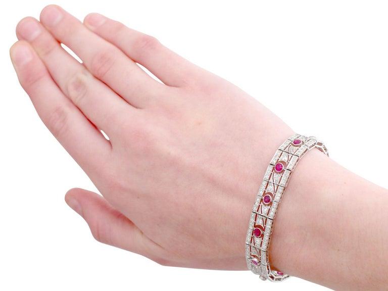 Antique 1935 French 2.45 Carat Ruby 6.85 Carat Diamond and Platinum Bracelet For Sale 4