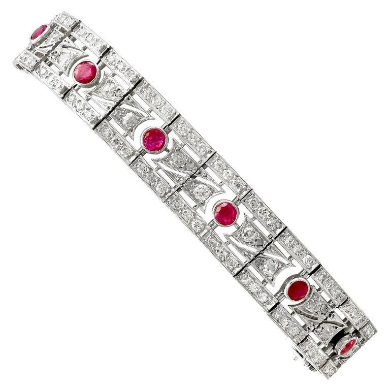 Antique 1935 French 2.45 Carat Ruby 6.85 Carat Diamond and Platinum Bracelet For Sale