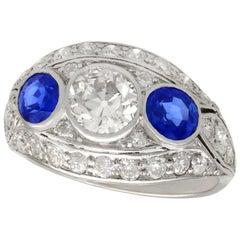 Antique 1.94 Carat Diamond and Sapphire Platinum Cocktail Ring