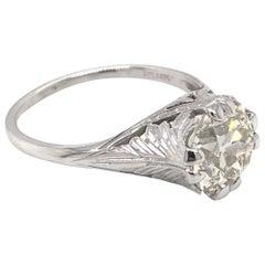 Antique 1.94 Carat Diamond Solitaire Filigree Engagement Ring