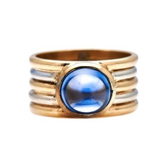 Antique, 1940s, 18ct Gold, French, Sri Lankan Cabochon Sapphire Ring