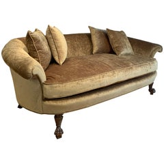 Antique 1940s Curved Back Velvet Sofa