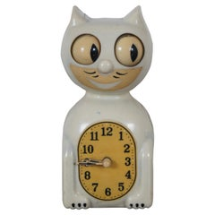Antique 1940s Kit Cat Klock Model C2 Electric Wall Clock Ivory MCM Mid Century