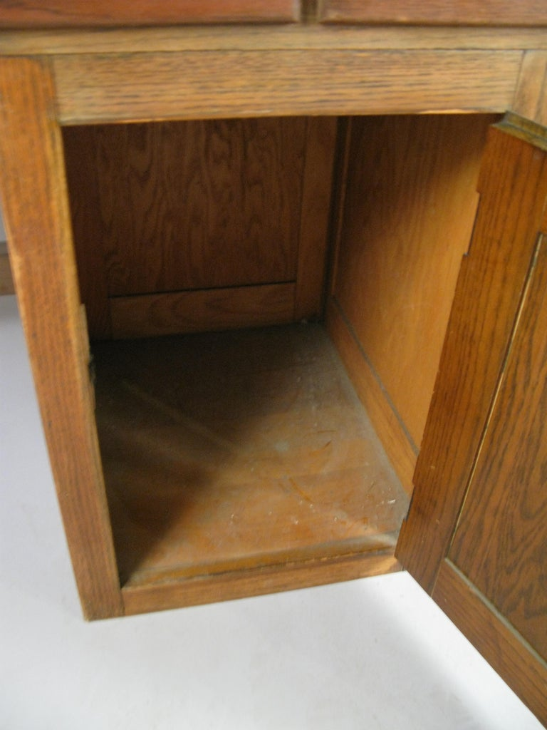American Antique 1940s Oak Lab Desk Table by Welch For Sale