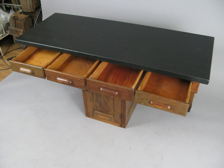 Antique 1940s Oak Lab Desk Table by Welch In Good Condition For Sale In Hudson, NY