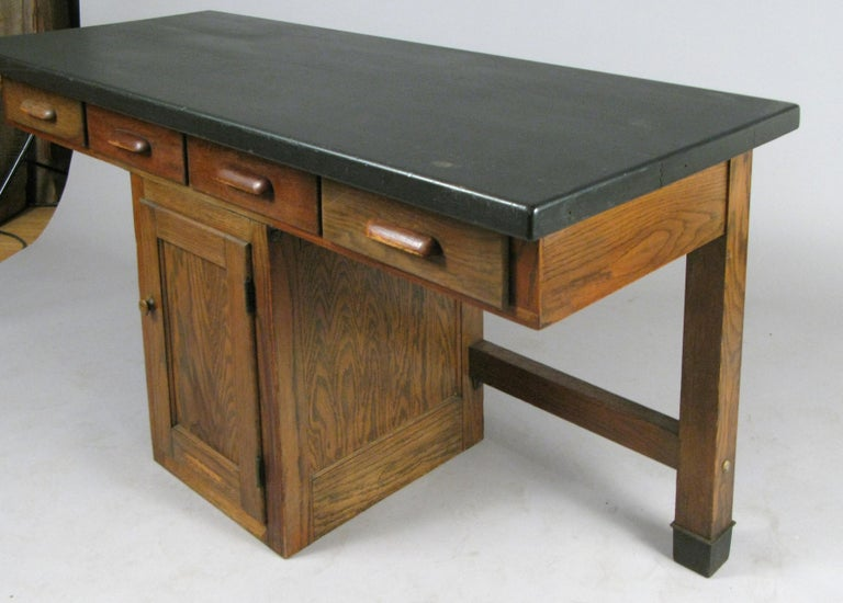 Mid-20th Century Antique 1940s Oak Lab Desk Table by Welch For Sale