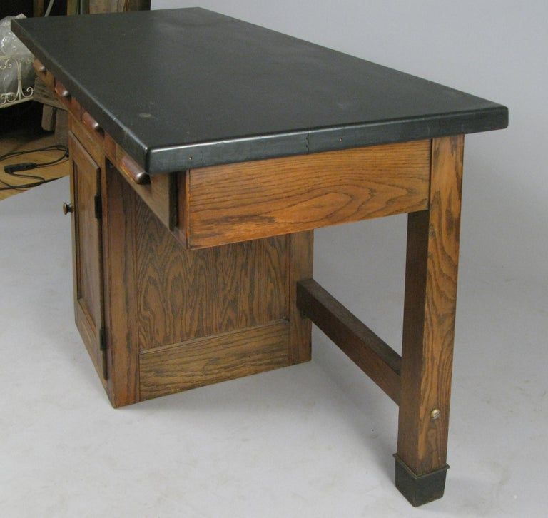 Antique 1940s Oak Lab Desk Table by Welch For Sale 1