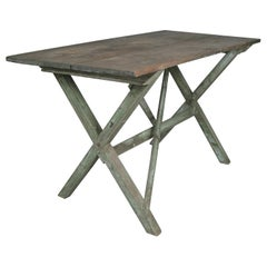 Antique 1940s Painted Trestle Table