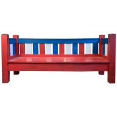 Antique 1940s Patriotic Settee in Red, White and Blue