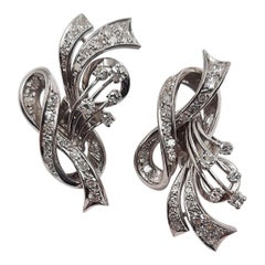 Antique 1950 Italian Platinum Single 'Huit Huit' Cut Diamond Earrings