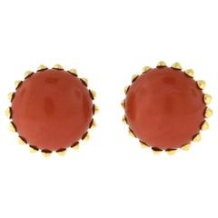 Antique 1950s Cartier Natural Red Coral Round Yellow Gold Clip-On Earrings