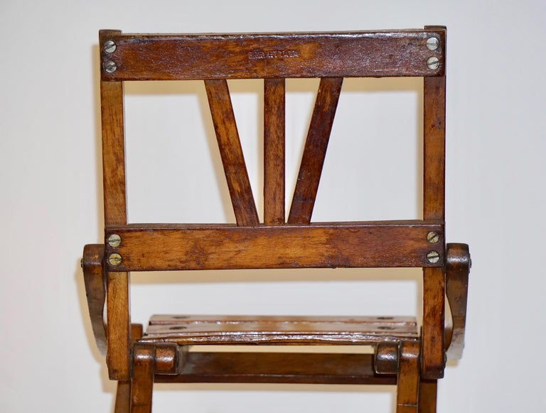 Antique 1950s Italian Handcrafted Oak Doll / Miniature Folding Chair For Sale 3
