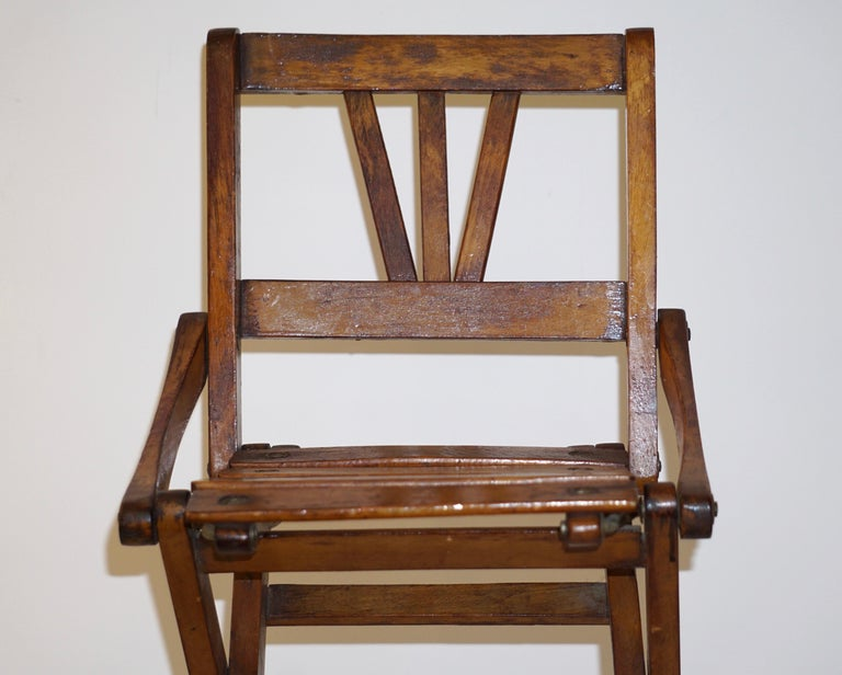 Antique 1950s Italian Handcrafted Oak Doll / Miniature Folding Chair For Sale 5