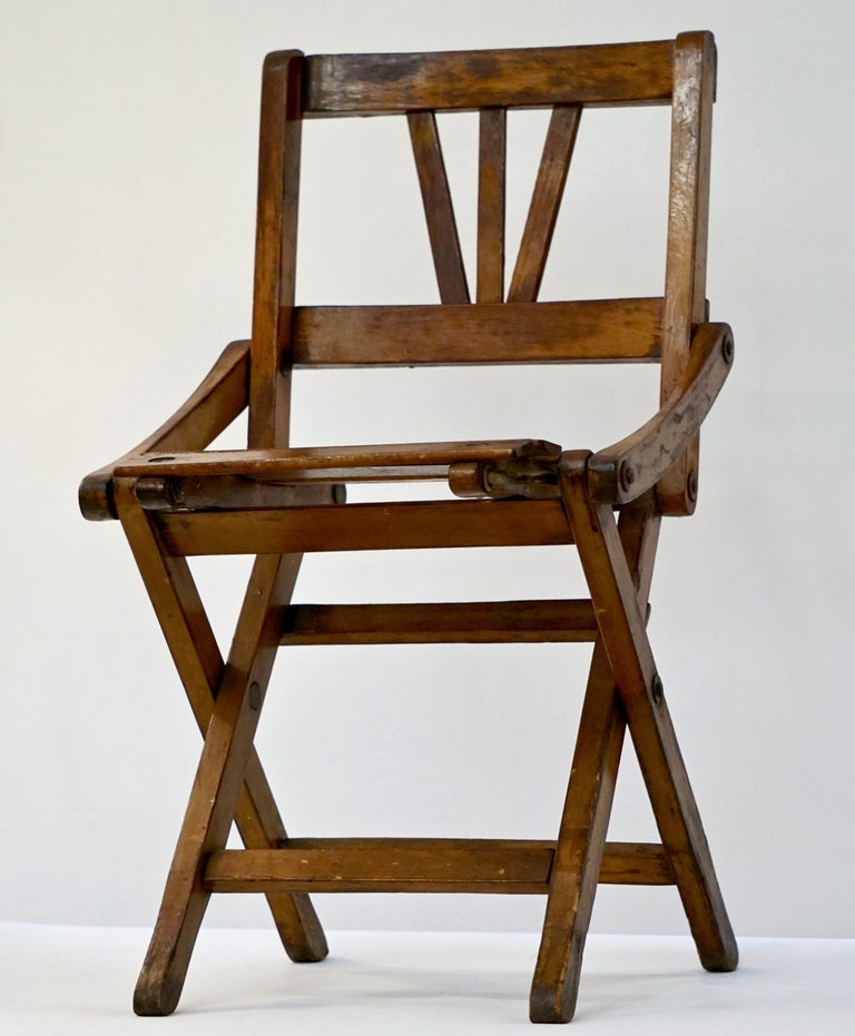 Antique 1950s Italian Handcrafted Oak Doll / Miniature Folding Chair For Sale 6