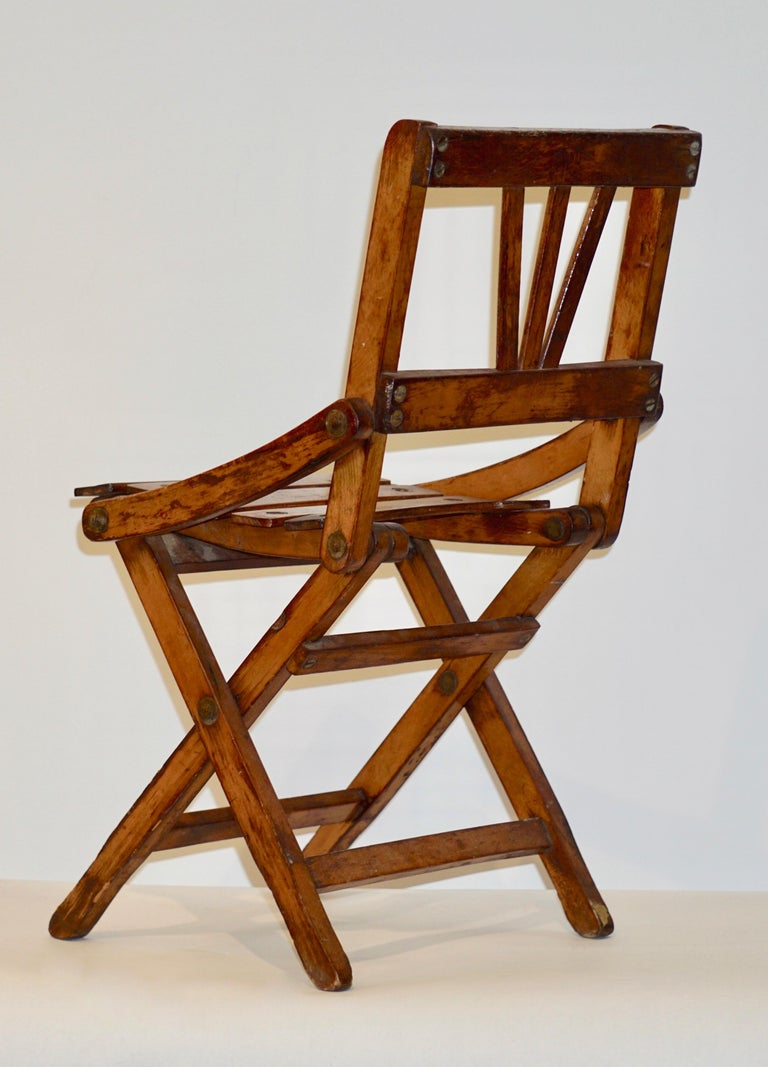 Hand-Crafted Antique 1950s Italian Handcrafted Oak Doll / Miniature Folding Chair For Sale