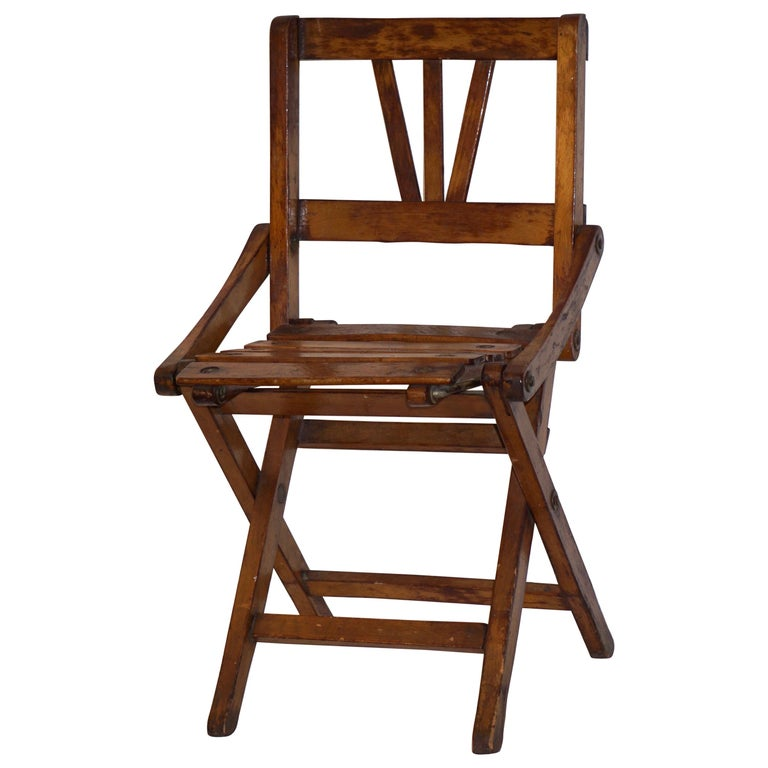 Antique 1950s Italian Handcrafted Oak Doll / Miniature Folding Chair For Sale