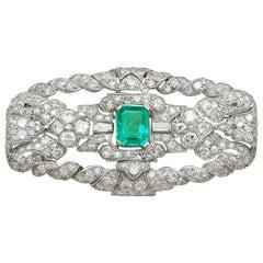 Antique 1.98 Carat Emerald 5.22 Carat Diamond Platinum Brooch