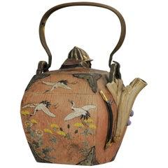 Antique 19th Century Japanese Banko Samurai Teapot Japanese Yixing Clay Style