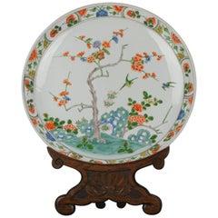 Antique 19C Japanese Kakiemon Style Charger Birds Prunus Rock