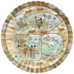 Antique Japanese Kutani Figural Landscape Dish Satsuma Style but Porcelain