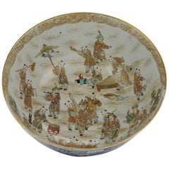Antique 19 Century Japanese Porcelain Arita Satsuma Bowl Meiji Period 100 Boys