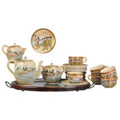 Antique Japanese Satsuma Coffee or Tea Set Richly Decorated Marked Base