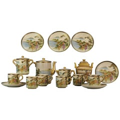 Antique 19C Japanese Satsuma Coffee set 15pcs Pot Richly Decorated