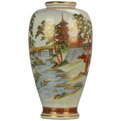 Antique 19th Century Japanese Satsuma Vase Japanese Satsuma Ware Landscape Pagod