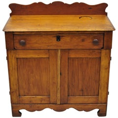 Antique 19th Century American Primitive Chestnut Washstand Nightstand Work Table