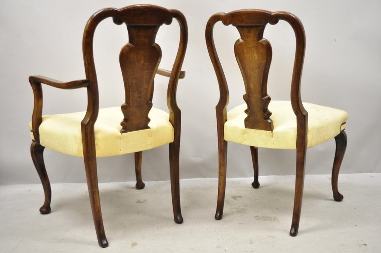 19th Century English Queen Anne Burr Walnut Splat Back Dining Chair, Set of 8 For Sale 6