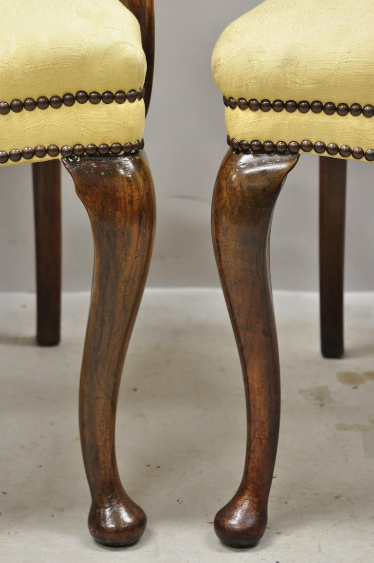19th Century English Queen Anne Burr Walnut Splat Back Dining Chair, Set of 8 For Sale 3