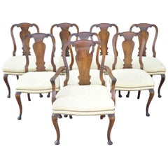 19th Century English Queen Anne Burr Walnut Splat Back Dining Chair, Set of 8