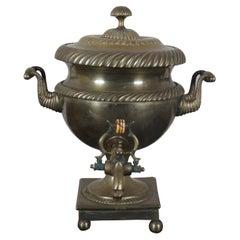 Antique 19th C. English Regency Brass Samovar Coffee Tea Urn Drink Dispenser