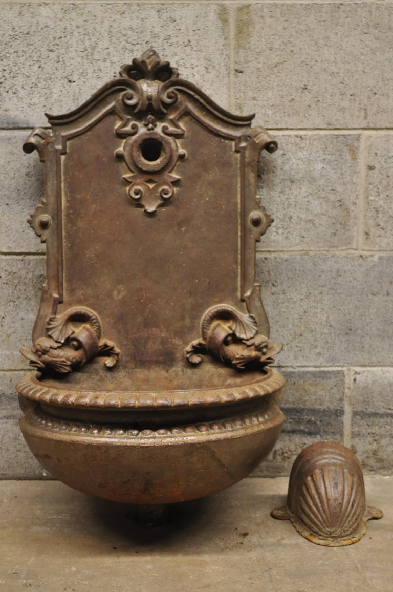 19th Century French Cast Iron Neoclassical Dolphin Garden Wall Fountain Basin For Sale 7