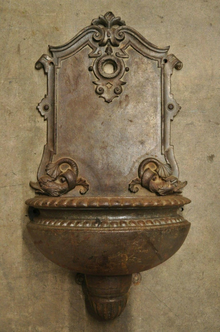 19th Century French Cast Iron Neoclassical Dolphin Garden Wall Fountain Basin For Sale 9