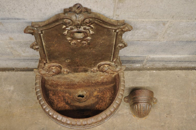 19th Century French Cast Iron Neoclassical Dolphin Garden Wall Fountain Basin For Sale 6