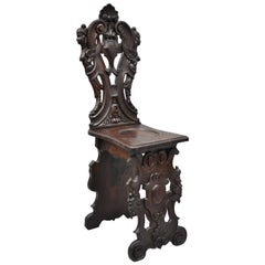 19th Century Italian Carved Walnut Figural Sgabello Chair with Winged Maidens