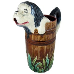 Antique Orchies French Barbotine Majolica Jug, Wet Sheep Dog in a Barrel