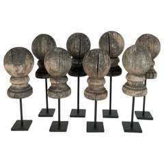 Antique 19th Century Weathered Wooden Finial Collection '8' on Stands